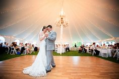 Oatlands Historic House & Gardens- Outdoor tented wedding reception; string lights; dance floor; Borrowed & Blue; Lovesome Photography.