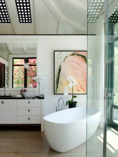 Bathroom- love the skylights with grids