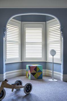 Timber Shutter in Phoenixwood – Silk White, Blade. Pelmets, Custom Windows, Roman Blinds, Roller Blinds, Beautiful Space, Shutters, Blade, Curtains, Silk