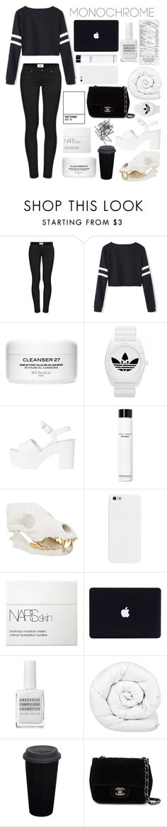 """Mono"" by modernandsmash ❤ liked on Polyvore featuring Paige Denim, adidas, Bobbi Brown Cosmetics, NARS Cosmetics, Obsessive Compulsive Cosmetics, Brinkhaus, Chanel, H&M and monochrome"