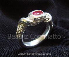 Anel de prata (Art Clay) com zircônia by Beatriz Cominatto, via Flickr