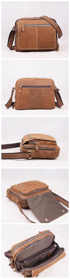Men Genuine Wax Oil Leather Vintage Messenger Bag Laptop Bags Tote
