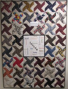 necktie quilts | This quilt was made all from neckties. The center square describes the ...