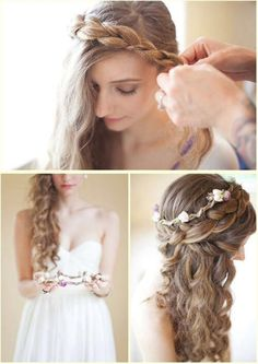 Curls with a thick braid and a floral hair piece. Beauty.com has hair accessories for every occasion.