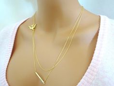 Layered Necklace Set of 2 /Skinny Gold Bar by StunningGemsJewelry