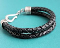Mens Braided Leather Bracelet Thick Brown by LynnToddDesigns