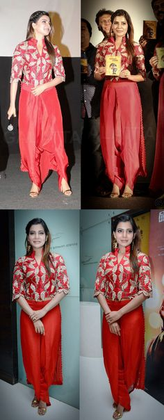 "Actress Samantha Ruth Prabhu attended ""Ennakul Oruvan"" audio launch event wearing a red dhoti and red embroidered jacket from Anamika Khanna."