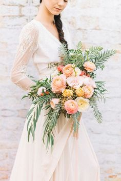 Peach and Coral Bouquet with Date Berries