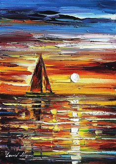 Sailing With The Sun 3 - Palette Knife Oil Painting On Canvas By Leonid Afremov Print by Leonid Afremov