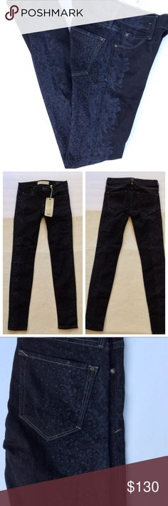 """NWT MARC BY MARC JACOBS SUPER SKINNY JEANS 26 NWT Incredible luxurious on trend super skinny dark wash jeans. These are one of a kind with a full leg ghosted print on both leg sides for ultimate street style!  Incredibly beautiful jeans. Features five pocket styling, logo hardware, double cross belt loops in back.  Dark wash blue/black. These are from the Marc by Marc Jacobs Standard Supply Workwear line. Mid rise. All measurements are taken flat across and approximate. Waist 13-1/2"""", hip…"""