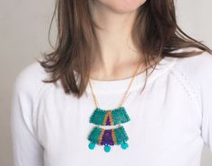 #Tribal #Geometry #Necklace Chain #Sequin Necklace Purple #Jewelry by velanch