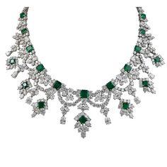 c1970's Harry Winston Emerald & Diamond Platinum Necklace