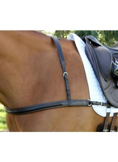 Flexi-Fit Gel Padded English Leather Dressage Breast Plate - Havana Brown & Stainless Steel - Dressage Products | Flexible Fit Equestrian