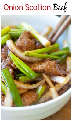 Onion Scallion Beef - Tender, juicy beef stir-fried with onions and scallions in a Chinese brown sauce. Delicious and easy recipe that takes only 20 mins. Meat Recipes, Asian Recipes, Cooking Recipes, Healthy Recipes, Recipies, Chinese Brown Sauce, Good Food, Yummy Food, Beef Dishes