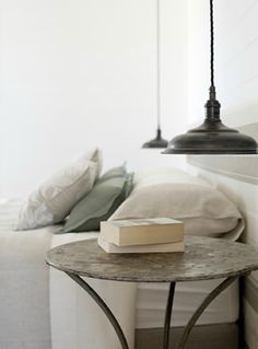 love the low-hanging bedside lamp. just the right amount of light- w/o keeping your partner awake.