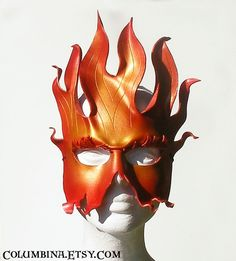 Amazing Fire Mask, and I do like their name! Mask Making Workshops with award winning mask designer Alyssa Ravenwood Leather Leaf, Leather Mask, Totems, How To Make Leather, Half Mask, Carnival Masks, Leaf Jewelry, African Masks, Masquerade Ball