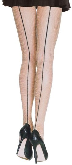 f83127123 NUDE FISHNET STOCKINGS W CONTRAST BACKSEAM Fishnet Stockings