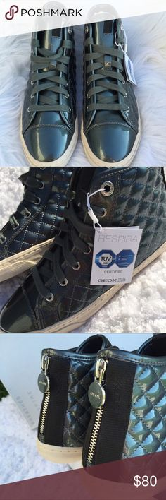 Authentic Italian Geox high tops Street chic high top sneakers, round toe, quilted construction, lace up style, back zipper panel with silver Geox hardware, lightly padded tongue and grip sole. Designed and developed in Montebelluna Italy, New in box Shoes Sneakers
