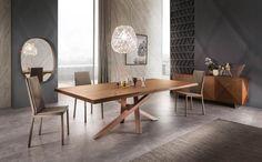 Il nuovo tavolo Shangai è realizzato in un'ampia e moderna gamma di materiali con oltre duecento possibilità di personalizzazione tra diverse misure, basi in diversi colori, piano in legno verniciabile nelle tinte a campionario Riflessi e in tutta la gamma RAL