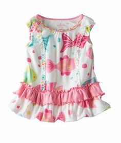 Baby Girl | Happy Fishy Short Sleeve Dress | Hallmark Baby | Your baby girl will love the easy breezy summertime comfort of this adorable fishy patterned 100% soft cotton summer dress. This easy to wear summer dress features darling ruffled layer design at the hem and sweet fishy pattern she'll love. Available exclusively online at Hallmark Baby.