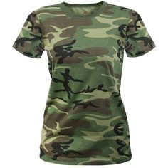 Woodland Camouflage Women's Longer Tactical T-Shirt ($8) ❤ liked on Polyvore featuring tops, t-shirts, camoflauge shirt, camo t shirt, camouflage shirt, camouflage t-shirts and military t shirts