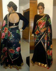Priyamani Black Half Saree | Saree Blouse Patterns