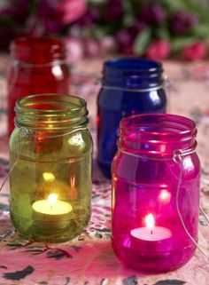 Set of Four Coloured Glass Jam Jar Lanterns - Summer & Outdoors - £12.99 - The Contemporary Home Online Shop