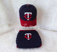 Baby Baseball Cap, Hat, Beanie and Diaper Cover set in Minnesota Twins inspired