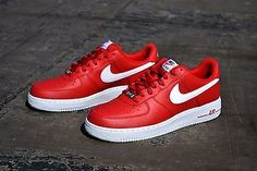 NEW Nike Air Force 1 One Men's Leather Athletic Shoes 488298 624 University Red