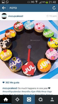 Año Fondant Cupcakes, Desserts, Food, Tailgate Desserts, Deserts, Essen, Postres, Meals, Dessert