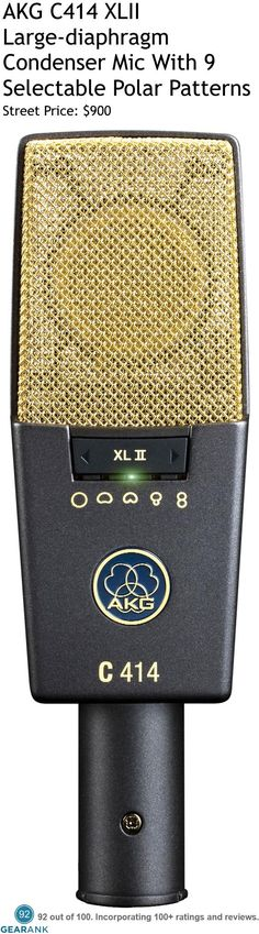 AKG C414 XLII Large-diaphragm Condenser Microphone With 9 Selectable Polar Patterns. Frequency response: 20 to 20000 Hz. Equivalent noise level: 6 dB-A. Sensitivity: 23 mV/Pa. For a detailed Guide to Studio Vocal Mics Under $1000 see https://www.gearank.com/guides/vocal-studio-mics