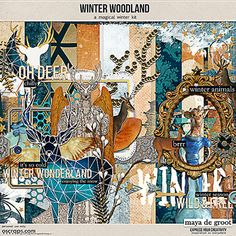 Winter Woodland is a digital scrapbook kit with a winter theme. It has warm blue and brown colours, handpainted elements and is perfect for art journal pages.