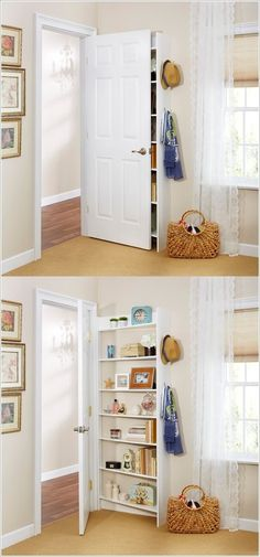 14 Behind the door shelf Simphome Space Saving Bedroom, Small Space Bedroom, Small Bedroom Furniture, Small Rooms, Small Spaces, Luxury Furniture, Antique Furniture, Very Small Bedroom, Small Bedroom Storage