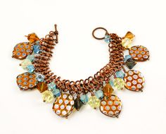 Copper  Chain Maille Charm Bracelet / Blue / by MerelyEclectic, $38.00