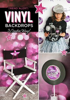 """Vinyl backdrops are the hot new trend in party planning! Check out 3 ways they are used in this """"POP-arazzi"""" pop star party to add multiple wow-factors!"""