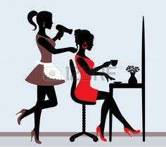 siluetas femeninas en Peluquería. peluquera hace corte de cabello a su el cliente. Foto de archivo.