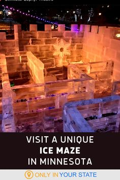Visit the largest ice maze in America in Stillwater, Minnesota. The biggest and best frozen maze in the US will be around for most of the winter and features a giant ice slide at the end! It's a fun and family-friendly activit. Winter Fun, Winter Travel, Vacation Destinations, Vacations, Stillwater Minnesota, Fun Winter Activities, Staycation, Hot Springs, Abandoned Places