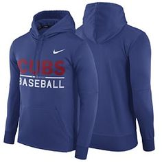 979cce482db Make sure you wear Cubbie blue this baseball season with this Chicago Cubs  Therma Fit Hooded Sweatshirt from Nike! This sweatshirt is all royal blue  and ...