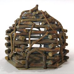 Vintage birdhouse with fairyland leanings. What the best way to attach those sticks together?