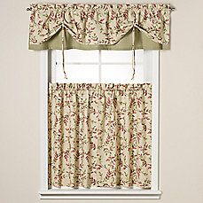 image of Versa-Tie® Vintage Vine Moss Window Valance and Tier Pairs