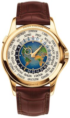Patek Philippe's Platinum World Time watch displays 24-hour time zones in different countries. It is easy to use and distinguishable between day and night in these different zones.