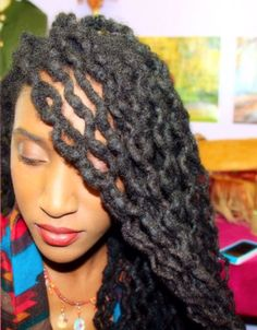 I love doing this style in the the Fall! Beautiful wavy locs :)