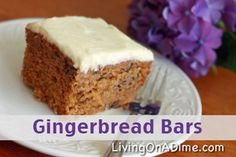 These fluffy Gingerbread Bars with Cream Cheese Frosting will be a huge hit with the family! Click here to get this easy #recipe. http://www.livingonadime.com/easy-dessert- Gingerbread Bars