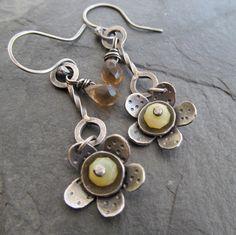 Silver Dangling Earrings Funky Long Flower Stamped Silver Earrings Yellow Opal Daisy Earrings by artdi on Etsy https://www.etsy.com/listing/221639088/silver-dangling-earrings-funky-long
