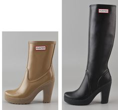 High heel Hunter boots for wet-weather Shoeperwomen! >> Shoeperwoman