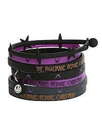 HOTTOPIC.COM - The Nightmare Before Christmas Black And Purple Rubber Bracelet 7 Pack