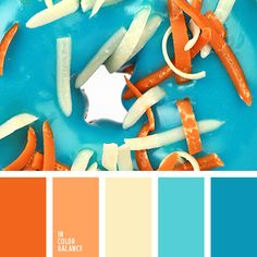 Natural composition, combining warm and cool color. Joyful, fresh and harmonious. Bright orange wonderfully combined with turquoise and deep blue. Muted shade of peach and pale yellow palette balance. A suitable combination of colors for the decoration of a bathroom, kitchen, dining room. It is also an excellent range of beachwear.