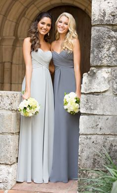Bridesmaids wearing WTOO 49 chiffon dresses in grey and silver http://www.itgirlweddings.com/blog/chiffon-bridesmaid-dresses