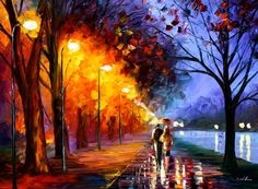 Leonid Afremov painting - I use this to teach warm & cool colours in my art class. He has a beautiful style!