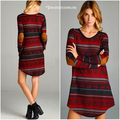 Holiday print elbow patch Dress ❤️⛄️warm & fuzzy $39 shipped free -coming in today www.royceclothing.com #boutique